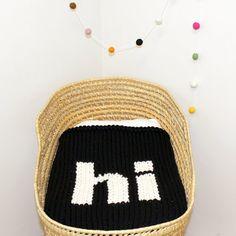 """Black Knitted Helvetica """"Hi"""" Baby Blanket for Bassinet, Stroller, Car Seat, or lap"""