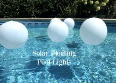 Floating pool lights that come on automatically every evening get their power from the sun so there are no batteries to replace. Easy Peasy. #floatingpoollights Floating Pool Lights, Floating Balloons, Light Up Balloons, Balloon Lights, Pool Candles, Outdoor Party Lighting, Big Swimming Pools, Umbrella Lights, Pool Party Decorations