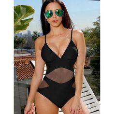 8bc3fd36dfc6c Black One Piece Swimsuit Women Trikini Mesh Monokini Push Up V Neck  triquini Backless Pad Bathing Suit maillot de bain femme