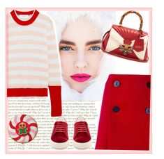 """""""winter stripes"""" by bodangela ❤ liked on Polyvore featuring Dsquared2, La Ligne, Anya Hindmarch and Gucci"""