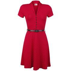 """- gepunktetes Kleid - V-Neck-Ausschnitt - 7 Verschlussknöpfe auf der Front - schwarzer Taillengürtel - tiefer Halsausschnitt - Logo-Patch aus Metall am Saum  Du stehst auf die Kleidung der 50er Jahre? Dann mache mit Pussy Deluxe eine Zeitreise und hol dir dieses rote """"Betty Dots"""" Kleid.  Auf dem roten Kleid sind die klassischen schwarzen Pünktchen aufgedruckt. Der schwarze Taillengürtel und die 7 Verschlussknöpfe unterstreichen den 50er Jahre- Stil des """"Betty Dots"""" Kleids..."""