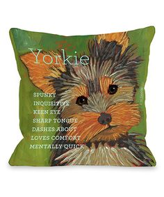 Love this Green Yorkshire Terrier Throw Pillow by OneBellaCasa on #zulily! #zulilyfinds