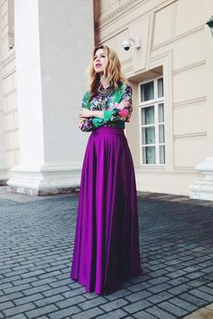 Long Sleeve Tee   Contrast Waist Maxi Skirt (Style Pantry) | Long ...