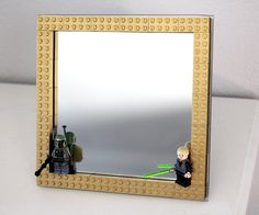 Subtle Geeky Home Decor: Make this easy DIY Gold LEGO Frame, using spray painted gold LEGO's.