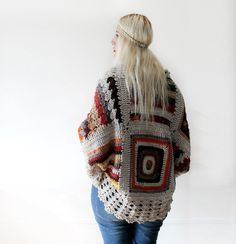 Afghan Crochet Cardigan-Ivory by LoveandKnit lovely cardigan #crochet
