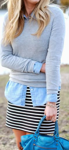 Striped dress with layer denim shirt and sweater. Perfect with flats and a chunky watch.