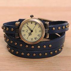 Cuero de la vendimia de las mujeres Timi analógico reloj pulsera-W1277 – USD $ 3.99