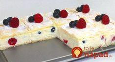 Perfektný zákusok na leto - žiadne vajcia, rýchla príprava a luxusná chuť! :-) Potrebujeme: 275 g lístkového cesta Krém: 74 g pudingového prášku vanilkového 700 ml 1,5% mlieka 20 g vanilkového cukru 8 lyžíc kr. cukru 5 listov želatíny 400 g tvarohu (polotučný) 100 g Croatian Recipes, Hungarian Recipes, Sweet Cookies, Sweet Treats, Sweet Recipes, Cake Recipes, Sweet And Salty, No Bake Desserts, Cheesecake