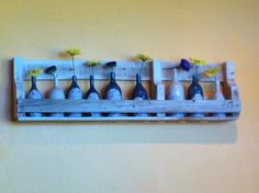 A new display in the local coffee shop by a wonderful artist...love the idea of building pallet shelves to display ceramics...