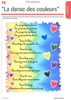 dansecouleurs French Teaching Resources, Teaching English, Infant Activities, Preschool Activities, Perception, Teaching French Immersion, French Poems, French Colors, Activities For 2 Year Olds