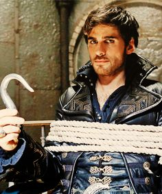 """Colin O'Donnoghue as Captain Hook all tied up from the TV Show """"Once Upon A Time""""."""