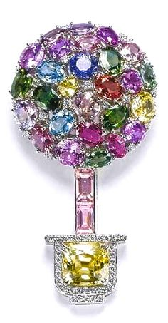 Topiary Brooch made of Multi-Coloured Sapphires