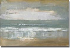 """Love these colors. by Overstock  US · 425 photos  added by Monica Sundberg  """"Shoreline"""" Unframed Canvas Art by Caroline Gold  A beautiful abstract painting of a beach. This would work well in coastal-themed rooms or in a space where you are trying to invoke a relaxing, calming experience.     Dimensions: 24""""H x 36""""W x .75""""D"""