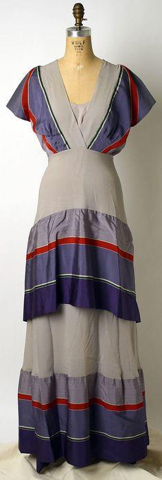 Silk dinner dress Elizabeth Hawes ca. 1935.