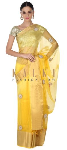 Buy this Yellow saree adorn in zari and mirror butti only on Kalki