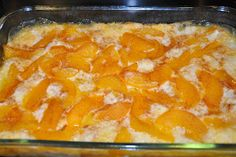 Elizabeth Ann's Recipe Box: Easy Cobbler 1 box yellow cake mix large can of peaches (I used 29 oz) 1 stick of butter (cut into small pieces) cinnamon sugar Spray with pam or slightly cover an oblong baking dish with butter (I used 13x9 inch pan) Dump the cake mix in the pan. Pour in peaches (make sure that the juice mixes with the cake mix) and dot with butter. Sprinkle with sugar and cinnamon. Bake at temperature shown on box.