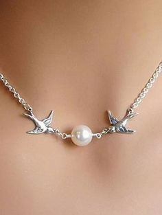 Sweet Silver + Pearl Love Birds Necklace!
