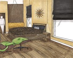 Bedroom rendering marker and pencil/ By Meredith