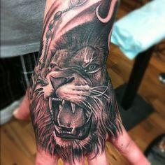Lion by Brian Gonzales of Ink Slingers #tattoo #tattoos #ink #inked #lion #handtattoo #blackandgreytattoos
