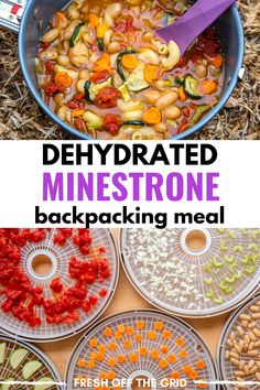 This Minestrone Soup is an easy dehydrated backpacking meal! Combining veggies like zucchini carrots and tomatoes with white beans for protein this soup is hearty and perfect after a long day on the trail. Dehydrated Backpacking Meals, Backpacking Food, Ultralight Backpacking, Dehydrated Vegetables, Dehydrated Food, Veggies, Camping Menu, Camping Foods, Camping Recipes