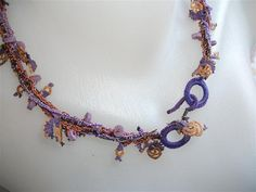 Lavender and Beige Turkish Lace  Oya  Necklace by neduk on Etsy, $22.00