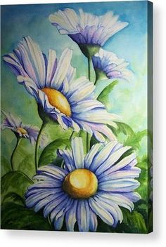 Daisy Blue Acrylic Print by Conni Reinecke. All acrylic prints are professionally printed, packaged, and shipped within 3 - 4 business days and delivered ready-to-hang on your wall. Choose from multiple sizes and mounting options. Daisy Painting, Acrylic Painting Flowers, Simple Acrylic Paintings, Acrylic Painting Canvas, Fabric Painting, Painting & Drawing, Poster Color Painting, Daisy Art, Beginner Painting