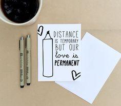 Distance is Temporary - LDR Card, Long Distance Relationship Card, Boyfriend ldr, Girlfriend ldr, Milso, Deployment, ldr Gift - (#LDR-32)