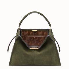 691c03bda755 Fendi Peekaboo X-Lite Suede   Leather Satchel Bag