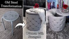 DIY OTTOMAN WITH STORAGE! I TURNED MY OLD STOOL INTO AN OTTOMAN! QUICK AND EASY! - YouTube Diy Storage Ottoman, Diy Ottoman, Diy Footstool, Diy Crafts Easy At Home, Diy Arts And Crafts, Diy Apartment Decor, Diy Headboards, Diy Home Improvement, Diy Wall Art