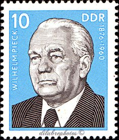 German Democratic Republic.  PORTRAITS OF FAMOUS MEN, BIRTH ANNIVERSARIES.  WILHELM PECK (1876-1960), president.  Scott 1702 A519, Issued 1975 Dec 30, Litho, Perf. 13 1/2 x 13, 10. /ldb.