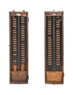"""set of c. 1910-20 vintage industrial """"in"""" and """"out' weathered and worn oak wood factory time card racks"""