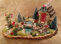 Fairy Garden, Christmas Fairy Garden, Winter Fairy Garden, Cardinal on the Mantel