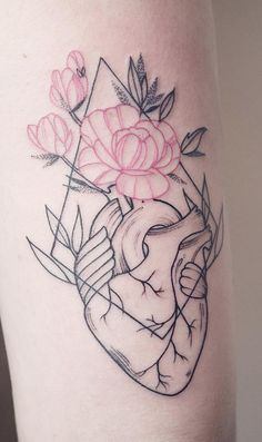 Linework heart tattoo designs