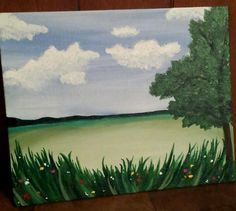Field and tree in acrylic May 28, 2017