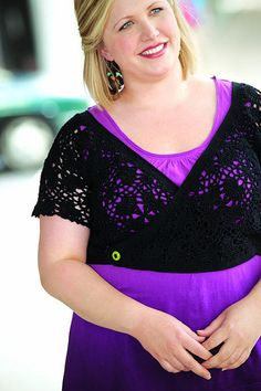 Motif Bolero crochet pattern instructions  by Marlaina Bird and Jill Wright, published in Leisure Arts #5154, Curvy Crochet. Sizes up to 4x.