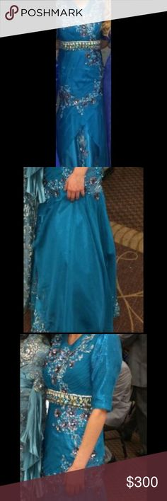 "Long mermaid prom dress Long mermaid prom blue beaded prom dress. Model is 5'7"" prom dress has a tail in the back was worn only once!! Dresses Prom"