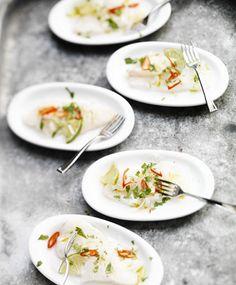 In limoen gebakken kabeljauw (Ceviche) Appetizer Recipes, Dinner Recipes, Appetizers, Ceviche, Good Fats, Tortilla Chips, Ecommerce, Panna Cotta, Foodies