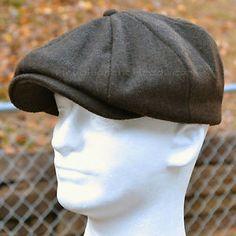 WOOL MELTON GATSBY CAP MEN NEWSBOY IVY HAT GOLF DRIVING FLAT CABBIE BROWN BLACK