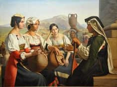 Guillaume Bodinier.  Women at a fountain, listening to an old woman, 1833.