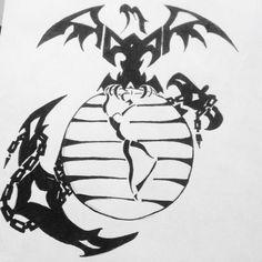 Tribal Marine Corps tattoo