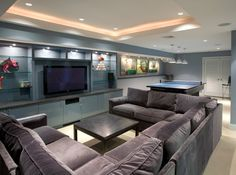 Modern basement with u shaped sectional sofa. home · decor and home design U Shaped Sectional Sofa, U Shaped Sofa, Sectional Sofas, Big Sofas, Couches, Basement Layout, Modern Basement, Basement Ideas, Basement Remodeling