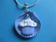 Purple Cupcake Seashell Handmade Necklace Kawaii by NovelShell, $16.00