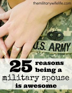 Let's just forget all of the things we hate about military life and focus on the positives for a moment, shall we? // 25 Reasons Being a Military Spouse is Awesome // themilitarywifeli. Military Marriage, Military Relationships, Military Couples, Military Love, Military Weddings, Military Families, Military Gifts, Airforce Wife, Usmc