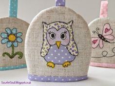 SewforSoul: Freestyle Machine embroidery.  Egg cosy with applique owl.