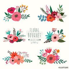 Vetor: Floral bouquet collection