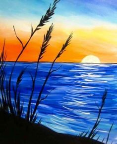wine and canvas painting ideas Wine Painting, Easy Canvas Painting, Simple Acrylic Paintings, Painting & Drawing, Beach Sunset Painting, Sunrise Painting, Acrylic Canvas, Art Paintings, Sunset Acrylic Painting