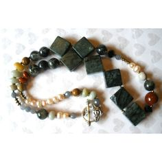 CHUNKY LONG GEMSTONE Necklace, Handcrafted Long Beaded Gemstone Necklace, Jasper Pearls Prehnite Jade Amazonite, Tibetan Silver Clasp ($41) found on Polyvore featuring women's fashion, jewelry and necklaces