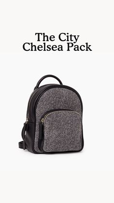 Our City Chelsea Pack is a mini update of our iconic Chelsea Pack that's perfect for your everyday adventures. Inspired by our Salt & Pepper sweats, it is handcrafted in Canada from our Salt & Pepper leather and trimmed with Cervino leather. This style is unlined and features a top zipper closure, front zipper pocket and adjustable backpack straps.