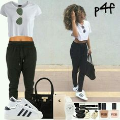 new concept 897bf b59ef A fashion look from June 2015 featuring cropped shirts, pink bra and adidas  originals shoes. Browse and shop related looks.