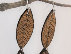 Recycled Vinyl Record Drop Earrings, Gold Leaf, Bohemian, Contemporary Nature Jewellery